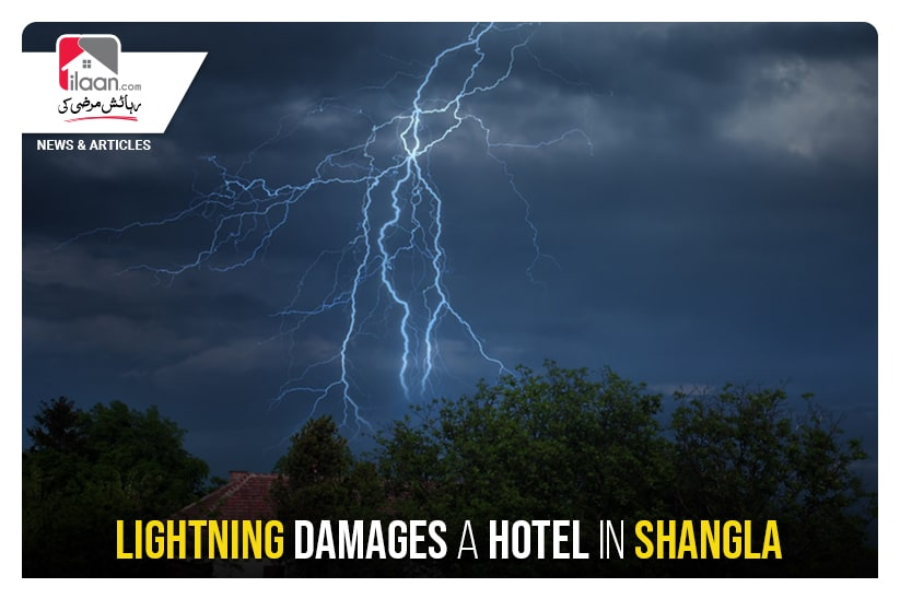 Lightning damages a hotel in Shangla