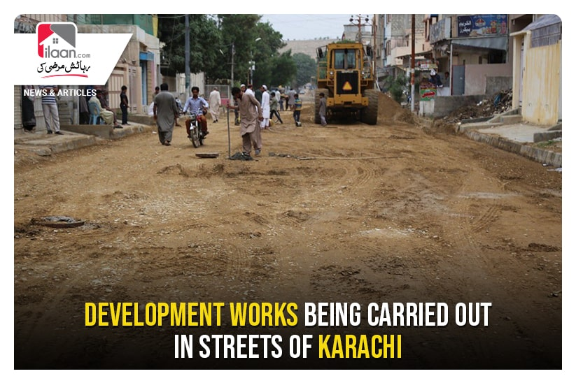 Development works being carried out in streets of Karachi