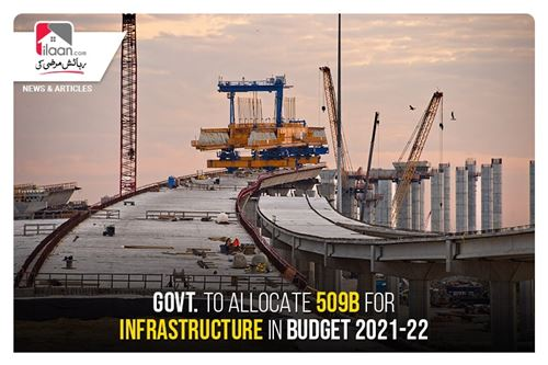 Govt. to allocate 509B for infrastructure in Budget 2021-22